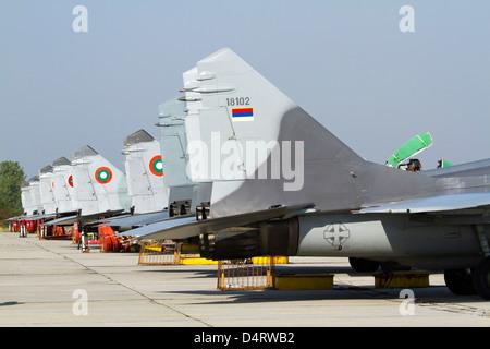 Serbian and Bulgarian MiG-29's parked at Graf Ignatievo Air Base, Bulgaria. - Stock Photo