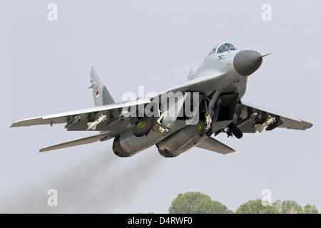 Serbian Air Force MiG-29 departing with two AA-8 Aphid missiles, Graf Ignatievo Air Base, Bulgaria. - Stock Photo