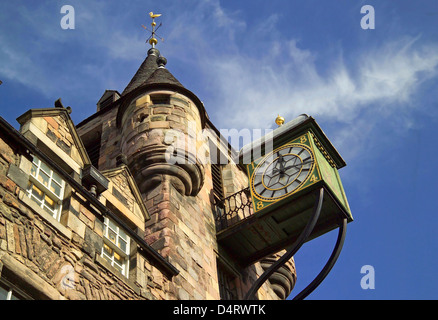 the tolbooth clock and tower on the royal mile - Stock Photo