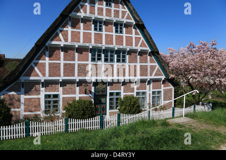 Altes Land, framed traditionel farmhouse at Este dike in Jork / Koenigreich, Lower Saxony, Germany - Stock Photo