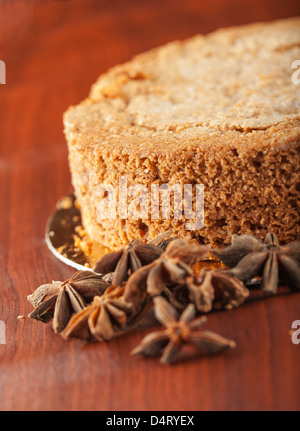 Close up of a slice of a hazelnut cake - Stock Photo