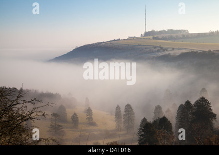 A morning view of Hannington Television mast on Cottington Hill in Hampshire seen from the Wayfarer's Walk on Cannon - Stock Photo