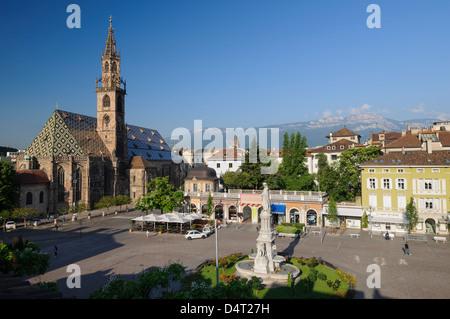 Bolzano Cathedral in Bolzano Italy, Walther Square - Stock Photo