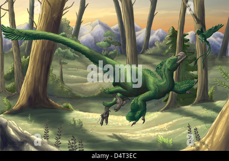 A bright green Velociraptor runs through a prehistoric forest. - Stock Photo