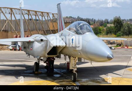 A McDonnell Douglas F-15C Eagle Baz aircraft of the Israeli Air Force, Tel Nof Air Base, Israel. - Stock Photo