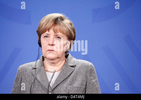 Angela Merkel (CDU), German Chancellor, pictured in Berlin.Berlin, 18. Maerz 2013. Pressekonferenz mit Bundesfinanzminister - Stock Photo