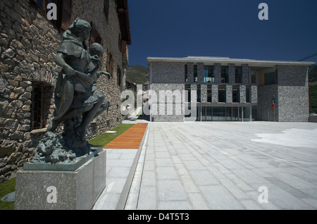 Andorra la Vella, Andorra, construction of the Consell General de les Valls - Stock Photo