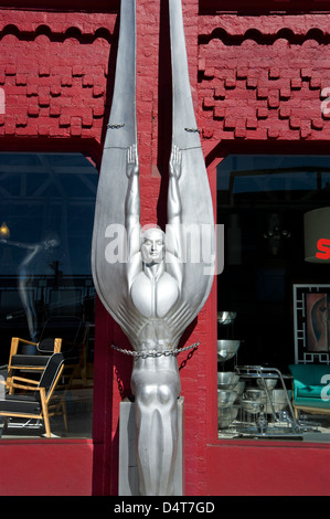 Art Deco sculpture outside antique shop on Beverly Blvd. in Los Angeles - Stock Photo