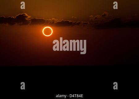 Totality during annular solar eclipse with ring of fire. - Stock Photo