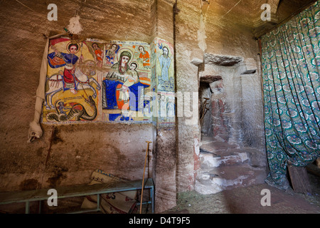 Abbi Johanni rock-hewn church in Tigray, Ethiopia - Stock Photo