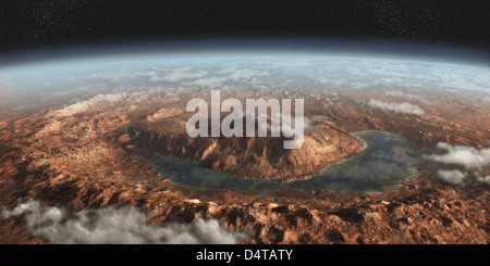 Artist's concept showing a lake of liquid water around Gale Crater on Mars. - Stock Photo