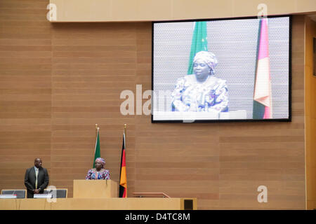 Addis Ababa, Ethiopia – March 18: Dr. Nkosazana Dlamini-Zuma, Chairperson of the AUC, gives a welcoming speech to - Stock Photo