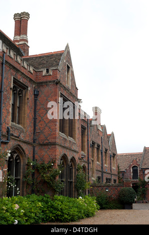Gate and entrance lane to St. John's College in Cambridge, UK - Stock Photo
