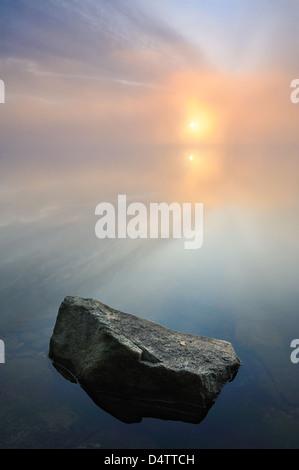 Dawn over lake Finnsjön, Mölnlycke, Sweden, Europe - Stock Photo