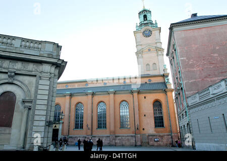 Exterior view of Storkyrkan Church in Stockholm, Sweden, 21 November 2009. The wedding of Crown Princess Victoria - Stock Photo