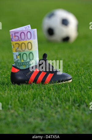 ILLUSTRATION - Euro banknotes are tucked into a soccer shoe which stands on a lawn in Frankfurt, Germany, 30 November - Stock Photo