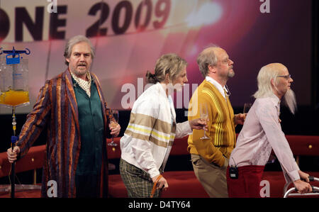 The German band 'Die Fantastischen Vier' performs during the award ceremony of the 10th '1Live Krone 2009' of youth - Stock Photo