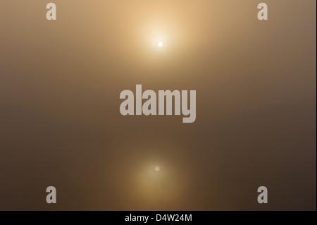 Autumn sun shining through fog over Göta Älv, Sweden, Europe - Stock Photo