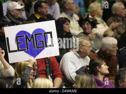 A Lemgo fan holds a banner during the handball Bundesliga match SC Magdeburg vs TBV Lemgo at Boerdelandhalle in - Stock Photo
