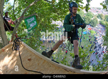 An activist from the environmental organization 'Robin Wood' descends from a tree-platform on a rope at the Schlossgarten - Stock Photo