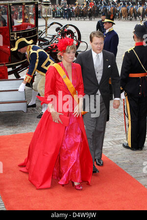 Prince Constantijn of the Netherlands (R) and his wife Princess Laurentien of the Netherlands (L) arrive at the - Stock Photo