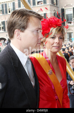 Prince Constantijn of the Netherlands (L) and his wife Princess Laurentien of the Netherlands (R) arrive at the - Stock Photo