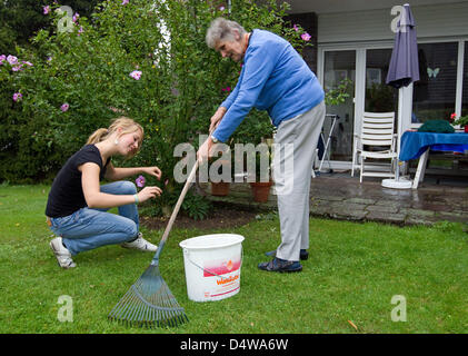 Senior Klara Fuerst (78) and student Sarah Boehm (20) work in their garden in Muenster, Germany, 14 September 2010. - Stock Photo