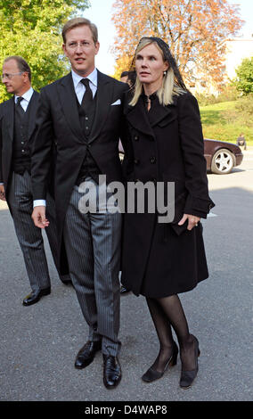 Hereditary Prince Bernhard of Baden and his wife Stephanie arrive for the funeral service of Friedrich Wilhelm, - Stock Photo