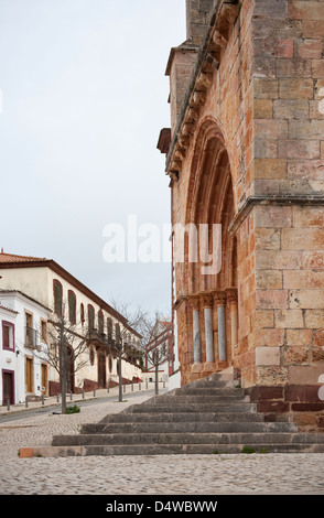 The historical 15th century cathedral of Silves with Manueline portico Silves Algarve Portugal Europe early March - Stock Photo