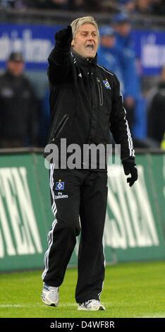 Hamburg's coach Armin Veh gestures during a Bundesliga match of Hamburger SV versus VfB Stuttgart in Hamburg, Germany, - Stock Photo