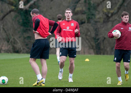 Cardiff, Wales, UK. 19th March 2013. The Wales football squad training at the Vale Hotel and Resort pitch ahead - Stock Photo