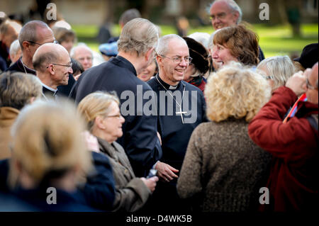 Chichester, Sussex, UK. 19th March 2013. The Archbishop of Canterbury Justin Welby, visits Chichester Cathedral - Stock Photo