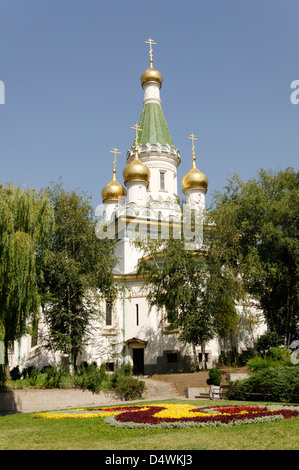 Sofia. Bulgaria. View of the striking Church of St Nicholas, also known as the Russian church. - Stock Photo