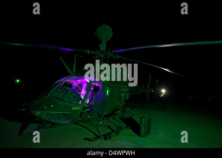 An OH-58D Kiowa helicopter at COB Speicher, Tikrit, Iraq, during Operation Iraqi Freedom. - Stock Photo