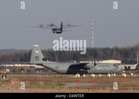 C-130J Super Hercules of the 86th airlift wing at Ramstein Air Base, Germany. - Stock Photo