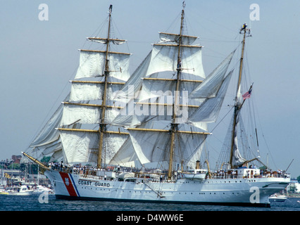 The USCGC Eagle, a 295-foot barque used as a training cutter. - Stock Photo