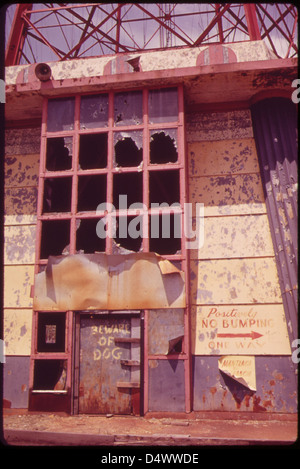 Entrance to Abandoned Parachute Jump Tower at Steepleehase Amusement Park on Coney Island 05/1973 - Stock Photo