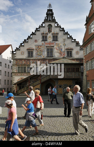 Lindau, Germany, pedestrians in front of the Old Town Hall Lindau Bodensee - Stock Photo