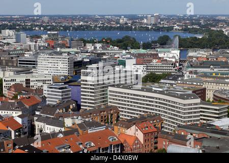 Hamburg, Germany, with the view over Hamburg Aussenalster - Stock Photo