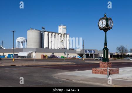 Grain elevator along the Union Pacific Railroad tracks in North Platte, Nebraska - Stock Photo