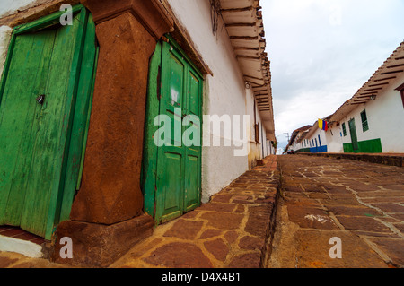 View of old colonial street corner in Barichara, Colombia - Stock Photo