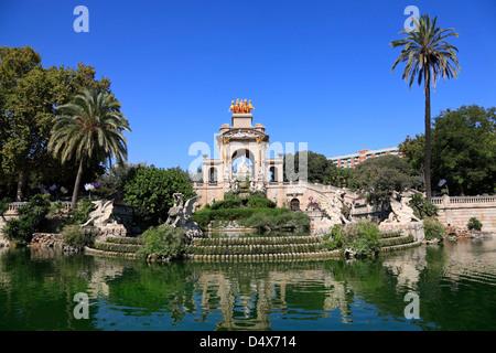 Cascade at Parc de la Ciutadella, Barcelona, Spain, Europe - Stock Photo