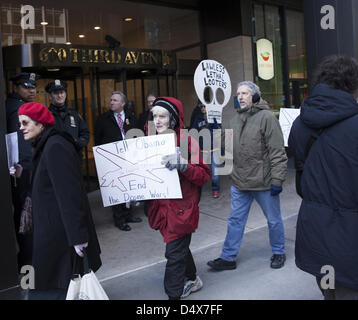 Americans demonstrate against L3 Communications, maker of Drone technology on 3rd ave. in NYC on the 10th anniversary - Stock Photo