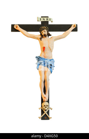 Jesus Christ on the Cross. Crucifix isolated on white background. - Stock Photo