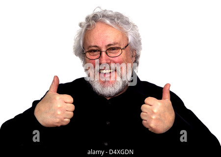 A senior is giving two thumbs up - Stock Photo