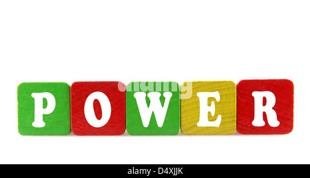 power - isolated text in wooden building blocks - Stock Photo
