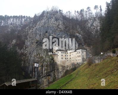 Exterior of Predjama Castle Slovenia - Stock Photo