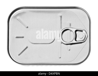 Metal can closeup isolated on white - Stock Photo