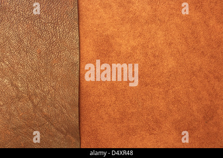 Different types of leather create a textured background - Stock Photo
