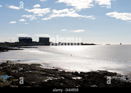 Heysham Lancashire, England - the power station silhouetted - Stock Photo